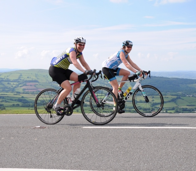 Samantha Gatehouse and Sarah West cycle